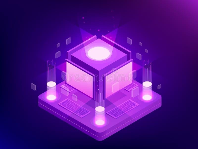 Isometriskt begrepp av kontrolldatorer för konstgjord intelligens eller internet, digitalt nätverk Chatbot videoTV-sändning stock illustrationer