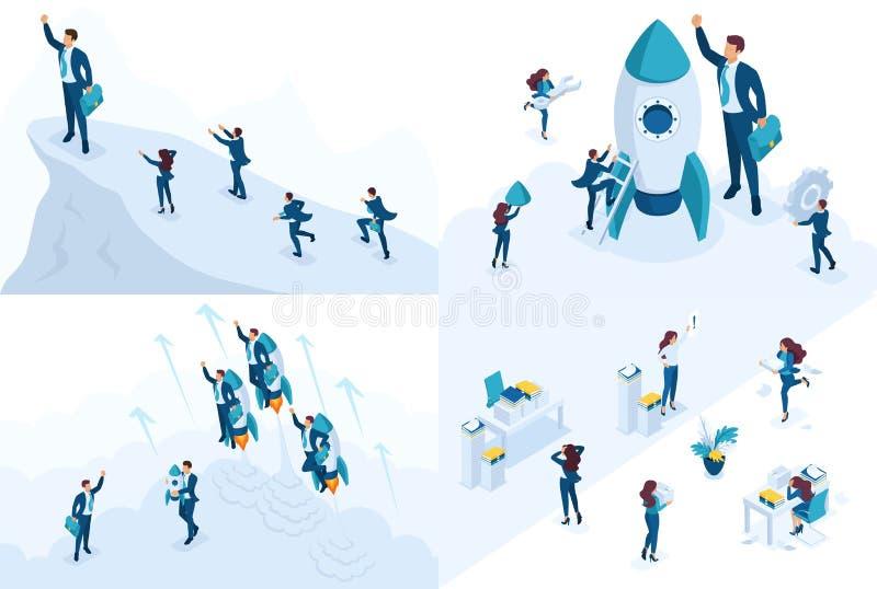 Isometriskt begrepp av ledarskap, start, avtal som arbetar med dokument För website och mobil applikationdesign stock illustrationer