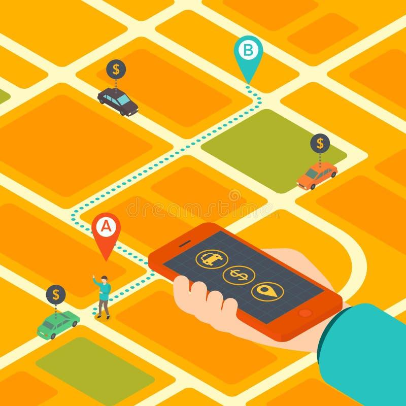 Isometriskt begrepp av mobilen app för att boka taxien royaltyfri illustrationer