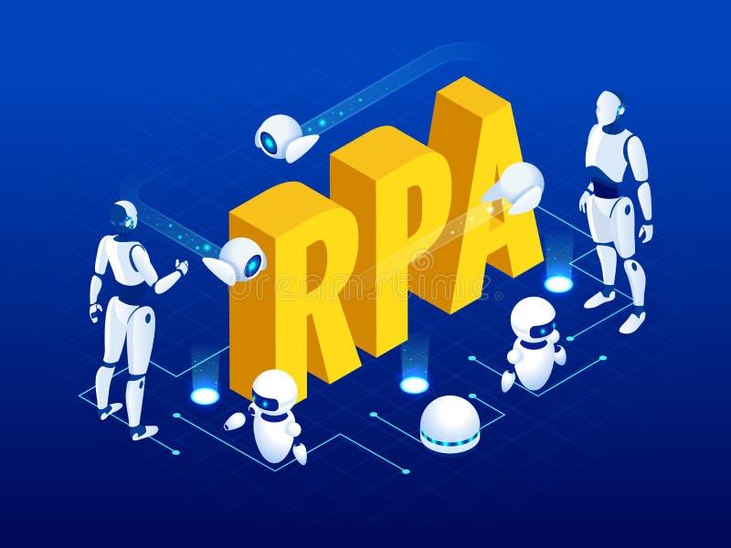 Isometriskt begrepp av RPA, konstgjord intelligens, robotteknikprocessautomation, ai i fintech eller maskinomformning vektor illustrationer