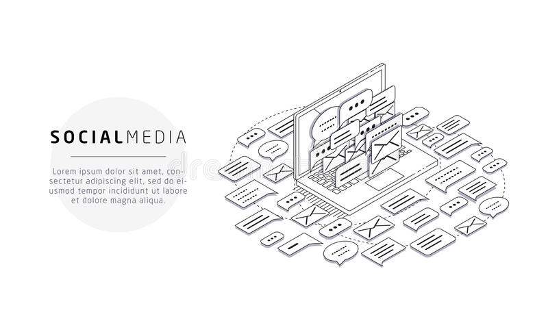 Isometriskt begrepp av skräpposten, socialt massmedia vektor illustrationer