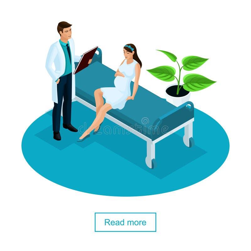 Isometriskt begrepp av undersökning av en gravid kvinna Doktorn undersöker patienten i en privat klinik royaltyfri illustrationer