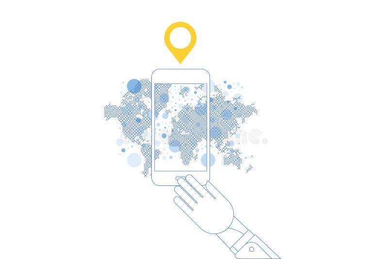 isometriskt begrepp 3D Linje smart telefon för konst med mobil applikation med världskartan för navigering för illustrationsköld  royaltyfri illustrationer