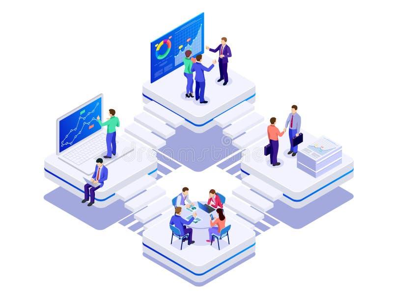 Isometriskt begrepp för affärsCo-arbete utrymme Idérikt folk i det moderna kontoret Teamwork arbetar samman med vektor illustrationer