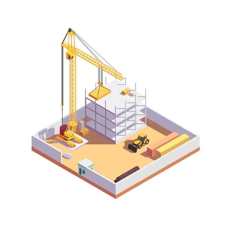 Isometriskt begrepp för byggnadskonstruktion Konstruktionsplats med tung utrustning Realistiska högkvalitativa beståndsdelar arkivbild