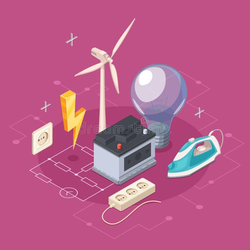 Isometriskt begrepp för elektricitet vektor illustrationer