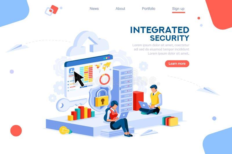 Isometriskt begrepp för innovationdatatjänstsäkerhet royaltyfri illustrationer
