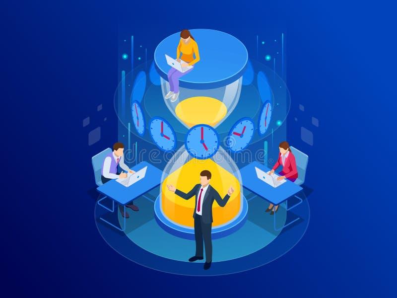 Isometriskt begrepp för ledning för effektiv tid Plan för affärsfolk och organiserar arbetstid, handlar stopptider, uppnår vektor illustrationer
