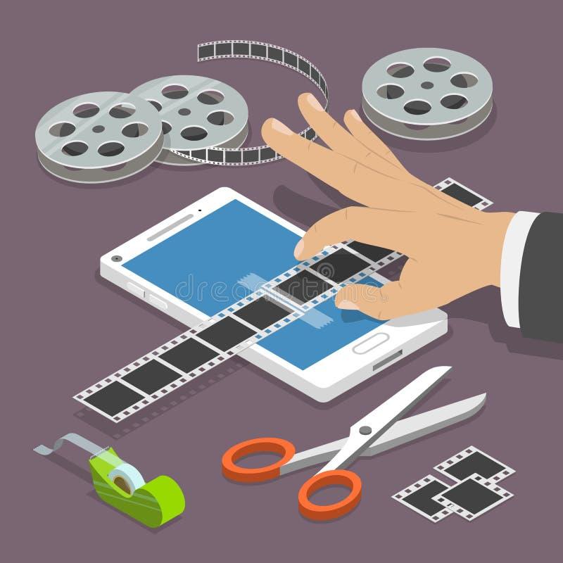 Isometriskt begrepp för mobil för videoredaktör vektor för lägenhet stock illustrationer