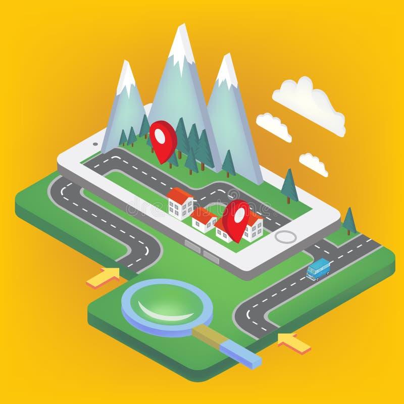 Isometriskt begrepp för mobil navigering vektor illustrationer