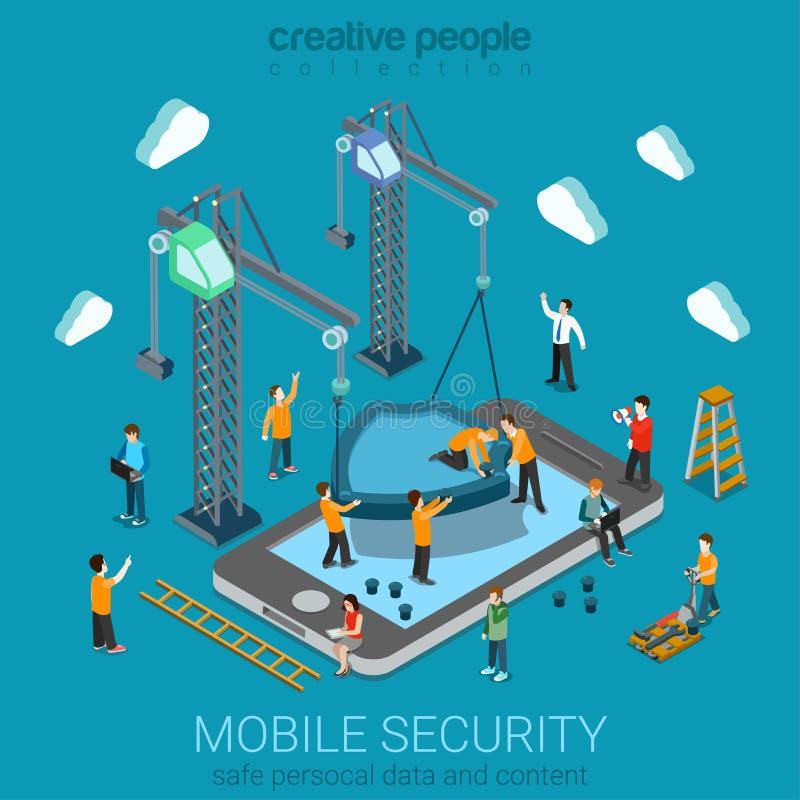 Isometriskt begrepp för mobil säkerhet stock illustrationer