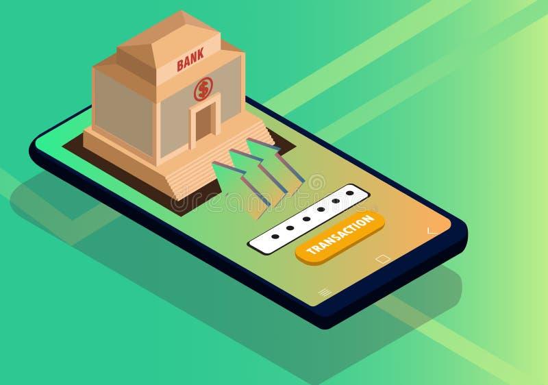 Isometriskt begrepp för mobilt packa ihop och online-betalning royaltyfri illustrationer