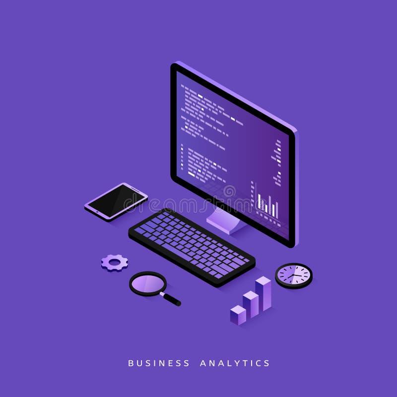 Isometriskt begrepp för modern plan design av affärsanalys för website och mobil website Design för presentation royaltyfri illustrationer