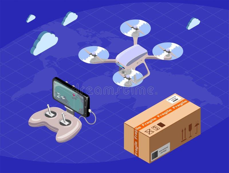 Isometriskt begrepp för modern plan design av det världsomspännande leveranssurret, konsolstyrspak, smartphone, packe också vekto stock illustrationer