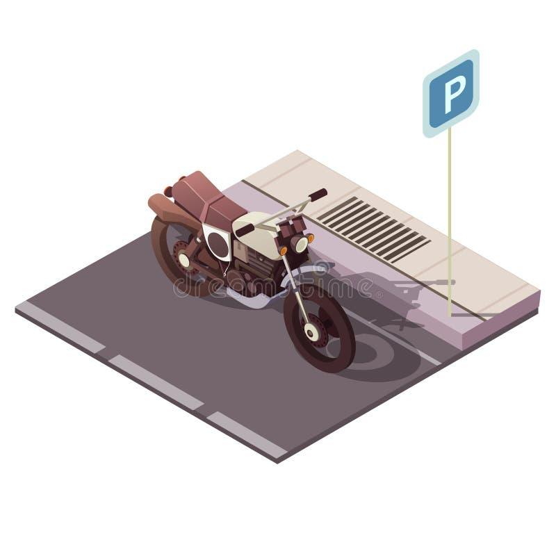 Isometriskt begrepp för motorcykel royaltyfri illustrationer
