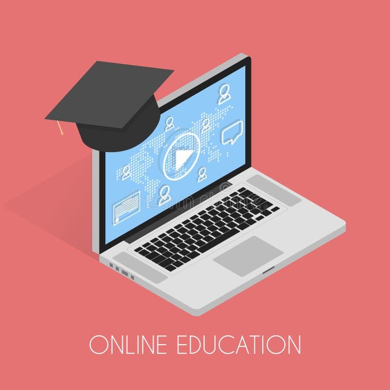 Isometriskt begrepp för online-utbildning vektor illustrationer