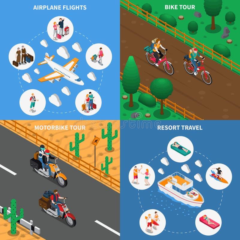 Isometriskt begrepp för resande folk vektor illustrationer