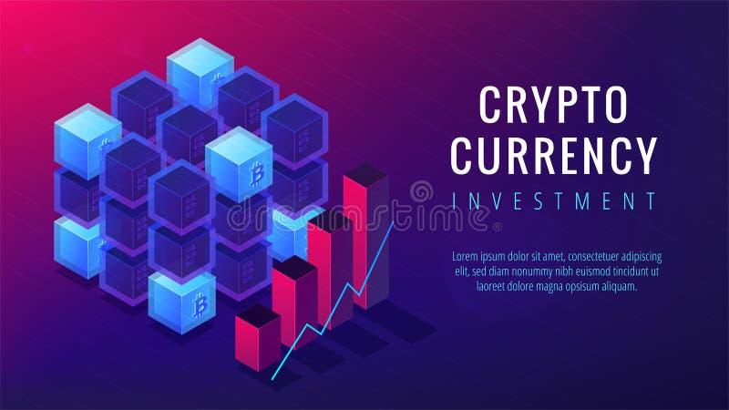 Isometriskt begrepp för sida för cryptocurrencyinvesteringlandning vektor illustrationer