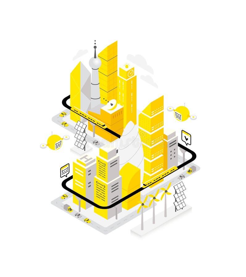 Isometriskt begrepp för smart mitt för stadsdatainfrastruktur stock illustrationer