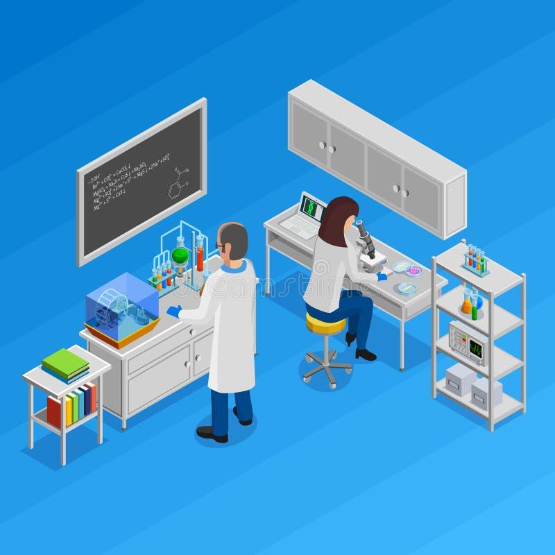 Isometriskt begrepp för vetenskap stock illustrationer