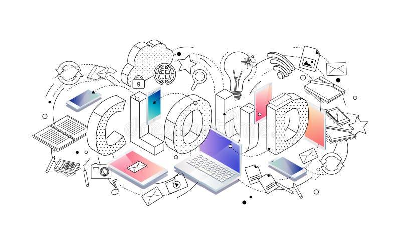 Isometriskt begrepp med den tunna linjen bokstäver, typografiordmoln stock illustrationer