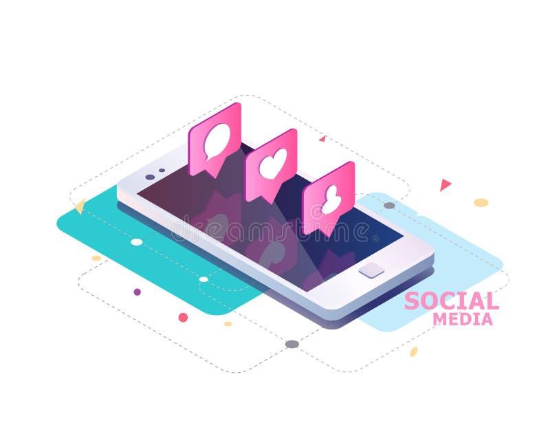 Isometriskt begrepp med mobiltelefon- och pushmeddelande med något liknande, nya kommentarer, meddelanden och anhängare stock illustrationer