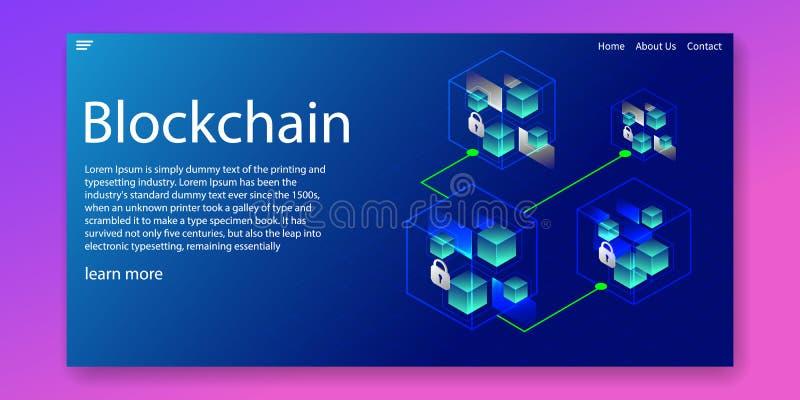 Isometriskt Blockchain kryptografinätverk och transaktionsdatabegrepp Reng?ringsdukmalldesign ocks? vektor f?r coreldrawillustrat vektor illustrationer