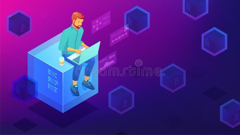 Isometriskt blockchainutvecklingsbegrepp stock illustrationer
