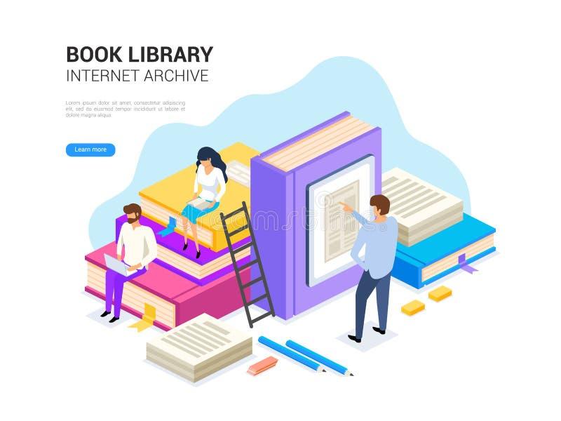 Isometriskt bokarkiv Internetarkivbegrepp och digitalt lära för rengöringsdukbaner Illustration för e-arkivvektor vektor illustrationer