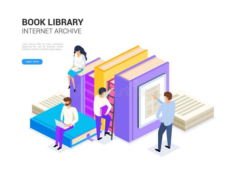 Isometriskt bokarkiv Internetarkivbegrepp och digitalt lära för rengöringsdukbaner Illustration för e-arkivvektor stock illustrationer