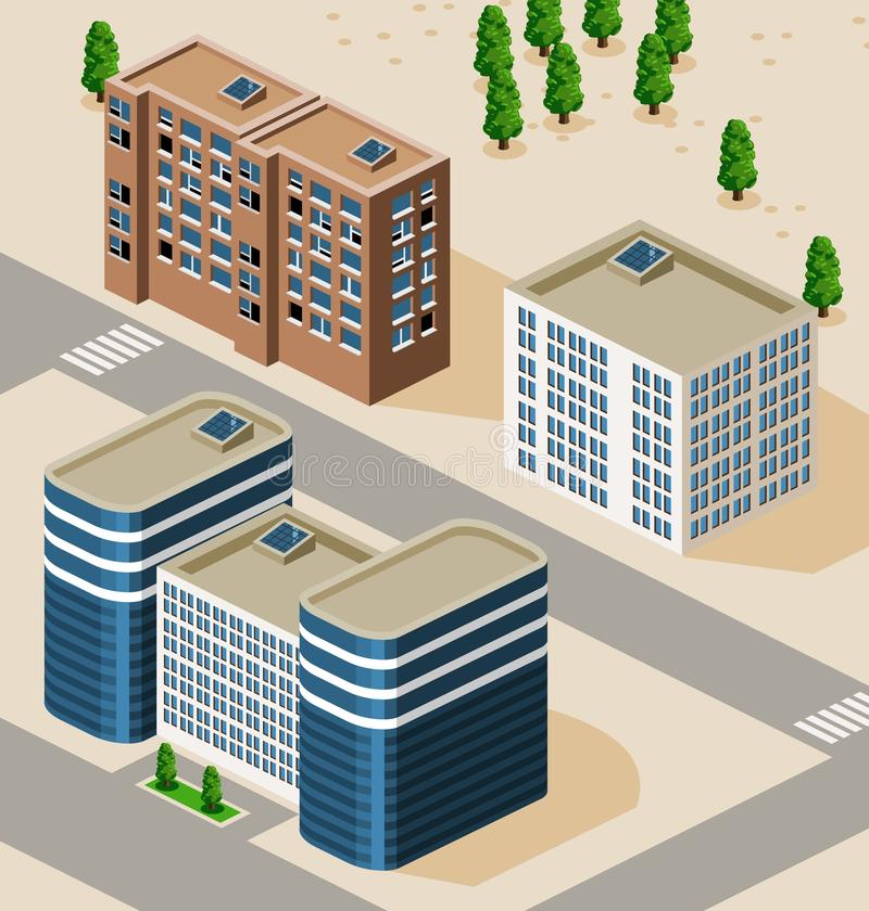 isometriskt byggande stock illustrationer