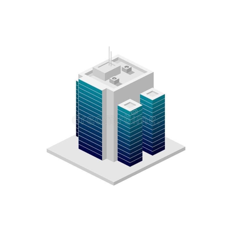 isometriskt byggande Beståndsdel av färgbyggnadssymbolen för mobila begrepps- och rengöringsdukapps Den specificerade isometriska stock illustrationer