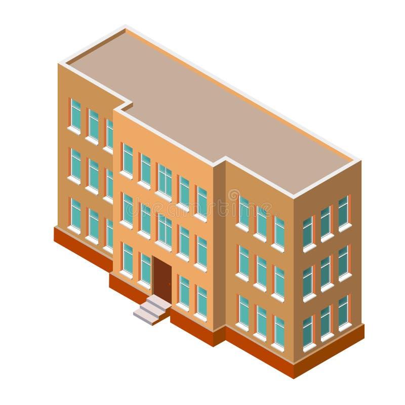 isometriskt byggande Detaljerad vektorillustration på en vit bakgrund symbol 3d för delshus för gods försäljning för hyra verklig stock illustrationer