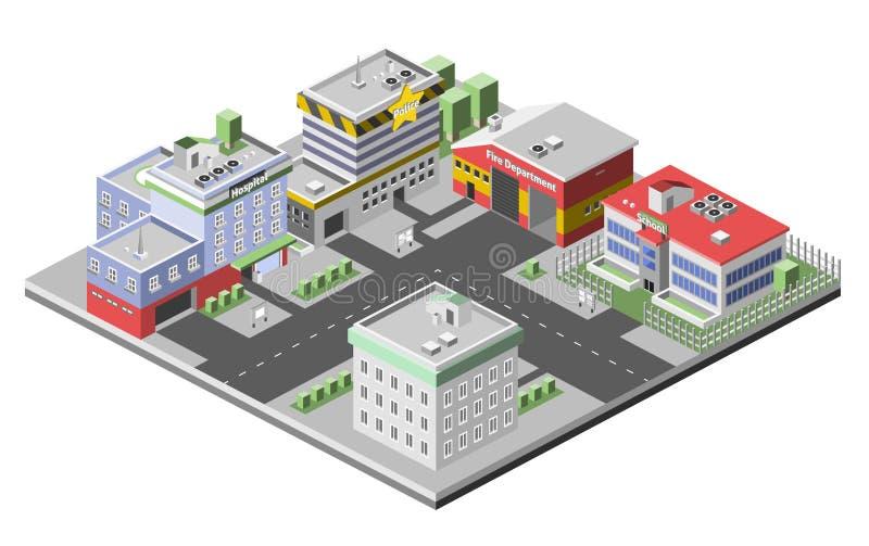 Isometriskt byggnadsbegrepp vektor illustrationer