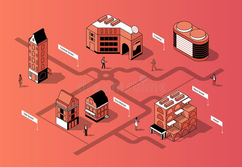 Isometriskt centrum för vektor 3d Stads- översikt royaltyfri illustrationer