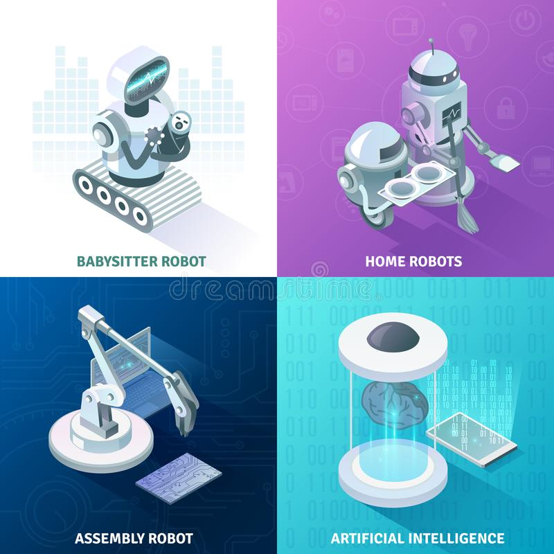 Isometriskt designbegrepp för konstgjord intelligens stock illustrationer