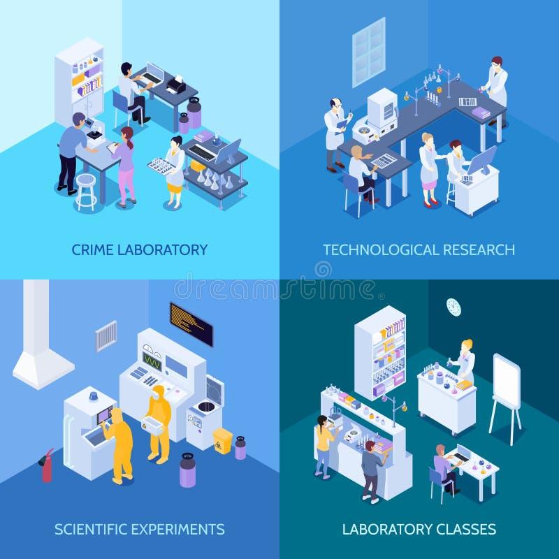 Isometriskt designbegrepp för laboratorium stock illustrationer