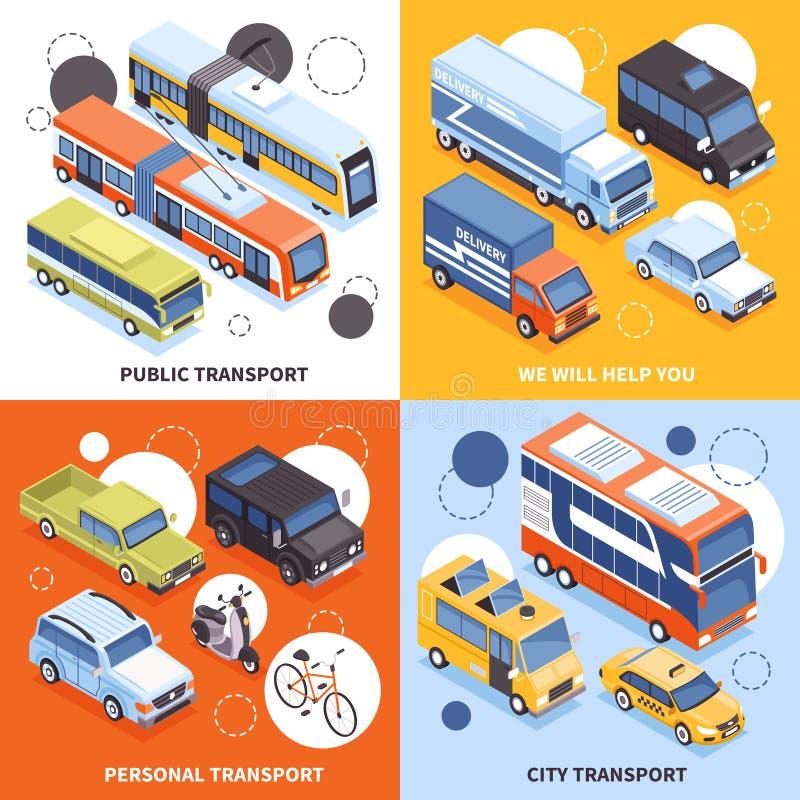 Isometriskt designbegrepp för transport royaltyfri illustrationer