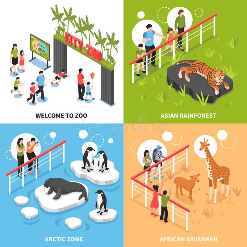 Isometriskt designbegrepp för zoo 2x2 royaltyfri illustrationer