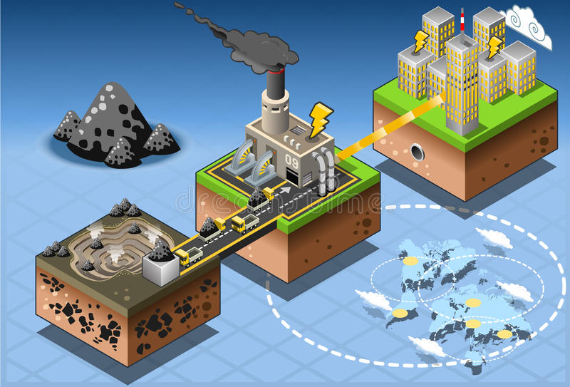 Isometriskt diagram för plockning för Infographic kolenergi stock illustrationer