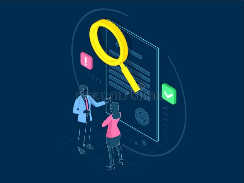 Isometriskt digitalt begrepp för marknadsföringsstrategi Avtalsanalys Online-affär, internetmarknadsföringsidé, kontor och royaltyfri illustrationer