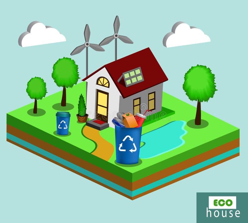 Isometriskt Eco hus royaltyfri illustrationer