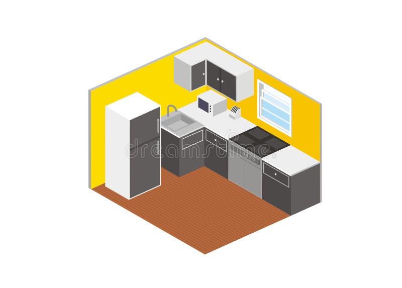 Isometriskt enkelt kök royaltyfri illustrationer