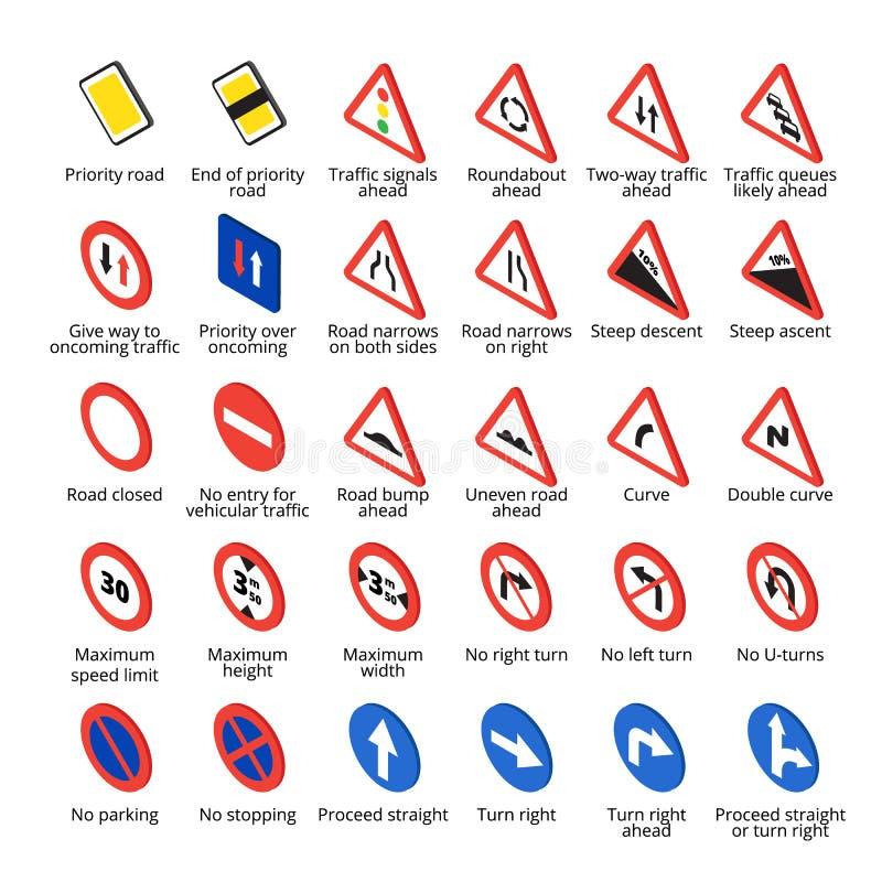 Isometriskt europeiskt trafiktecken Samling för vektorvägsymboler stock illustrationer