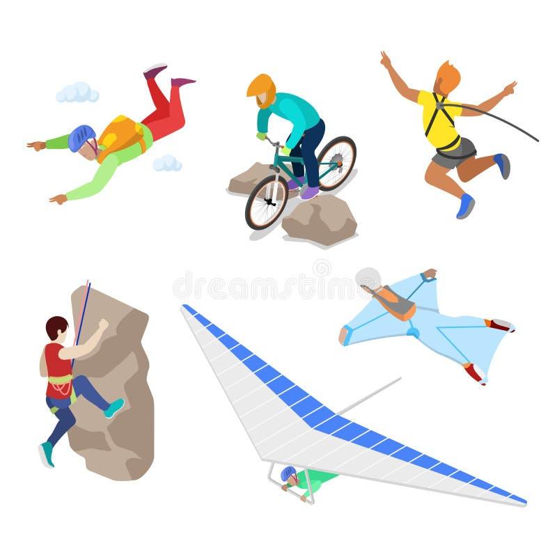 Isometriskt extremt sportfolk med bungeen som hoppar med fritt fall och hoppa fallskärm vektor illustrationer