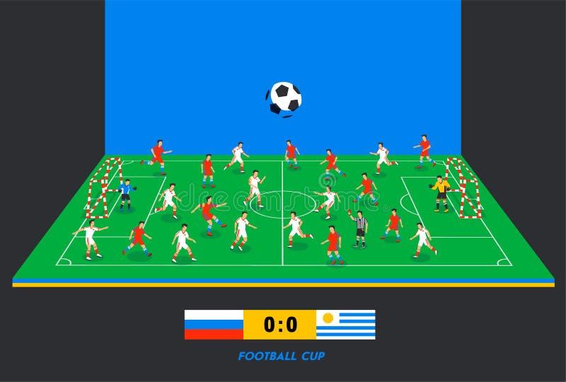 isometriskt fält för fotboll 3D med fotbollslag Sporttema, fotbollsportfält, stadion Färgrika fotbollsspelare på royaltyfri illustrationer