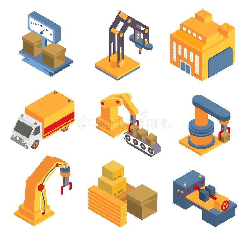 Isometriskt fabriksflödesdiagram med Robotic maskineri royaltyfri illustrationer