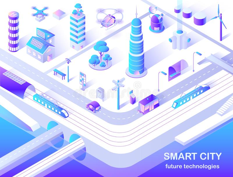 Isometriskt flödesdiagram för smart teknologi för stad framtida royaltyfri illustrationer