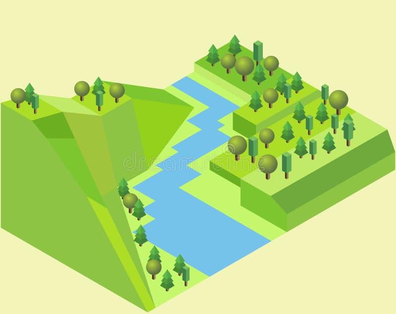Isometriskt flodland med ett flodsärdraggräs, träd, floden och jordning stock illustrationer