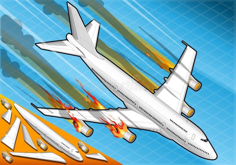 Isometriskt flygplan som ner faller med motorer på brand royaltyfri illustrationer